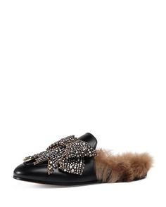 Princetown+Bow+Fur-Lined+Mule,+Black+by+Gucci+at+Neiman+Marcus.