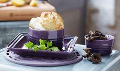 Soufflé met aardappelen en champignons