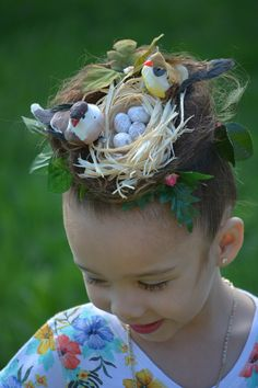 Crazy hair day at school... A bird nest in her hair... Fabulous