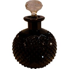 Bohemian Czech Cut Diamond Point Black Art Glass Scent Perfume Bottle (Cologne) Signed c 1930