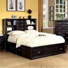 Solid Wood Queen/King Espresso Storage Bookcase Shelves Headboard 6-Drawer Platform Bed - Sears