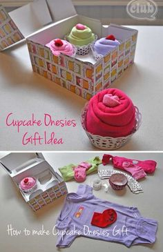 Shower gift ideas Cupcake onesies gift - 30 Last-Minute DIY Christmas Gift Ideas Everyone will Love Craft Gifts, Diy Gifts, Handmade Baby Gifts, Handmade Ideas, Regalo Baby Shower, Diy Cadeau Noel, Diy Bebe, Shower Bebe, Navidad Diy