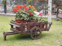 Wheelbarrow Planter, Wood Planter Box, Wooden Planters, Wooden Garden Ornaments, Wooden Wagon, Garden Cart, Flower Cart, Little Gardens, Garden Deco