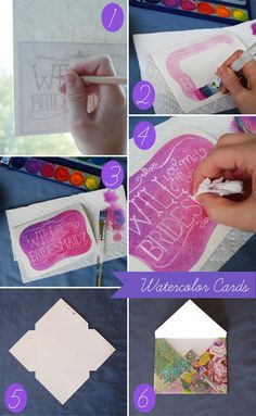 White crayon and watercolour cards