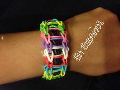 Rainbow Loom en Espanol - Pulsera de gomitas - El Escalon -  Ladder Bracelet