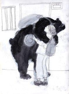 Hugging a bear