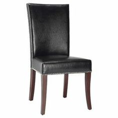 """Perfect around the dining table or pulled up to your desk, this classic side chair showcases bicast leather upholstery and nailhead trim.    Product: Set of 2 chairs   Construction Material: Beech wood and bicast leather    Color: Black and chestnut  Features: Nailhead trimCurved top    Dimensions: 42.1"""" H x 20.8"""" W x 30.7"""" D   Cleaning and care: Dust weekly using a soft, clean cloth slightly dampened with distilled water. Blot spills immediately with a soft, clean ..."""