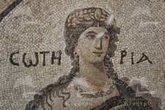 Detail of mosaic from the floor of the Bath of Apolausis, a small suburban bath uncovered in the Antioch excavations; the woman depicted is Soteria (Salvation) - Antakya Museum, Paper Mosaic, Mosaic Art, Ancient Romans, Ancient Art, Ephesus, Byzantine Art, Greek Art, In Ancient Times, Ancient Greece