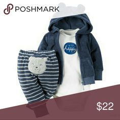 Carter's Little Jacket Set With a soft terry cardigan and little bear on the bottom, this babysoft set keeps your little cub cuddly all day. 3-piece set babysoft cotton. Appliqu?, embroidery & screen print. Nickel-free snaps on reinforced panel. Zip-front design. 3D ears. No-pinch elastic waistband. Cardigan & pant: 86% cotton, 14% polyester Bodysuit: 100% cotton rib Carter's Matching Sets