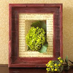 Shadowbox Art: Create a shadow box in a weathered frame. Start by coating the frame with a color wash (a 50-50 mix of water and paint.) Next photocopy a sentimental letter onto vellum and cover the mat with it. Then cut a piece of fabric to fit the photo area of the frame and glue it in place. Finally, adhere a silk flower arrangement of your choice to the fabric.