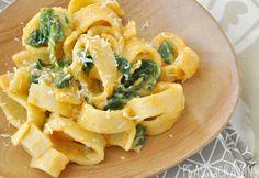 creamy pumpkin alfredo sauce with spinach