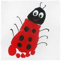 L is for ladybug! Maybe read the grouchy ladybug! Footprint art, sweet idea to keep those little kiddies busy on rainy spring days Kids Crafts, Daycare Crafts, Summer Crafts, Baby Crafts, Toddler Crafts, Crafts To Do, Preschool Crafts, Arts And Crafts, Kids Diy