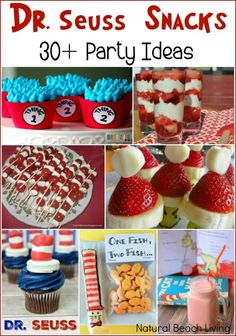 Seuss Party Ideas and Activities for Kids - Natural Beach Living of The Best Dr. Dr. Seuss, Dr Seuss Day, Dr Seuss Snacks, Dr Seuss Activities, Library Activities, Party Activities, 1st Birthday Party Games, Dr Seuss Birthday Party, Twin Birthday