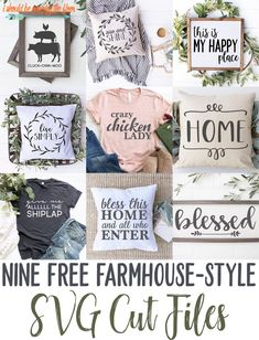 These Free Farmhouse Style SVG Files are perfect for home decor, gifts, t-shirts, and more. Easy to Cricut Vinyl, Vinyle Cricut, Cricut Craft Room, Cricut Fonts, Svg Files For Cricut, Cricut Stencils, Cricut Air, Kirigami, Vinyl Projects