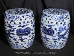 Pair Chinese Ming Blue and White Porcelain Garden Seats Stools Urns