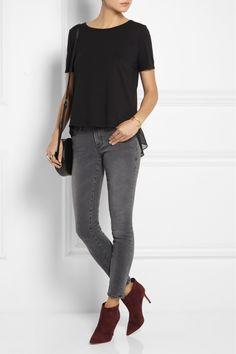 CLU Silk chiffon-trimmed jersey T-shirt NET-A-PORTER.COM