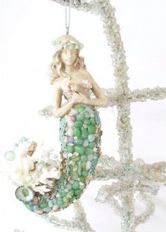 Mermaid Ornament Seashells Coral Christmas Tree Coastal Decor Turquoise Seafans - mermaid instead of an angel or star tree topper Coastal Christmas Decor, Nautical Christmas, Tropical Christmas, Beach Christmas, Beach Holiday, Coastal Decor, Christmas Decorations, Christmas Ornaments, Turquoise Christmas