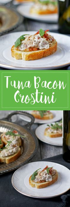 Tuna bacon crostini is a great last minute-appetizer! It only takes 10 minutes to put together and is the perfect finger food for dinner parties. | honeyandbirch.com @bumblebeefoods #OnlyAlbacore #CG #BumbleBeeTuna