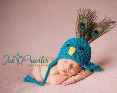 Peacock Newborn Crochet Beanie Hat-peacock newborn crochet beanie hat,baby hat,newborn photography prop,crochet hat,photo prop,baby beanie