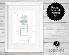 Kinderzimmerdekoration - A4 KUNSTDRUCK mit NAMEN ♥ REGIE ♥  - ein Designerstück von J-Designerie bei DaWanda
