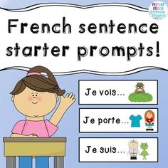 """Includes basic prompts such as """"je vois"""", """"je porte"""", """"je suis"""" for early French Immersion students or early Core French students. French Teaching Resources, Teaching French, French Sentences, Communication Orale, Balle Anti Stress, Core French, Sentence Starters, French Classroom, French Teacher"""