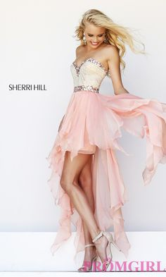 Strapless High Low Prom Dress by Sherri Hill