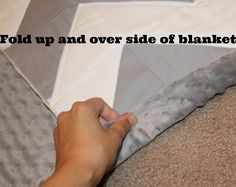 Quick chevron baby quilt tutorial backing and binding with minky fabric.