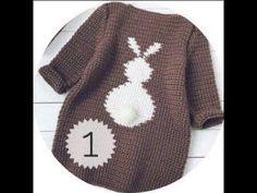 (356) вязаная кофта крючком для начинающих вязальщиц на любой размер с зайкой на спине ,жаккард - YouTube Knit Baby Dress, Crochet Baby Shoes, Crochet Baby Clothes, Crochet For Boys, Knitting For Kids, Baby Knitting, Crochet Doilies, Knit Crochet, Baby Sweaters