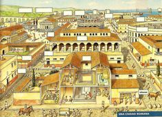 reconstruction of a typical Roman town