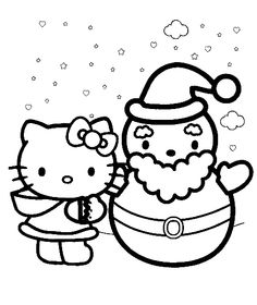 santa with hello kitty in christmas coloring pages christmas coloring pages kidsdrawing free