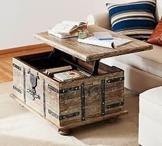 Shop trunk coffee table from Pottery Barn. Our furniture, home decor and accessories collections feature trunk coffee table in quality materials and classic styles. Lift Top Coffee Table, Diy Coffee Table, Coffee Table With Storage, Trunk Coffee Tables, Trunk Table, Coffee Table Pottery Barn, Reclaimed Wood Coffee Table, Coffee Table Inspiration, Furniture Inspiration