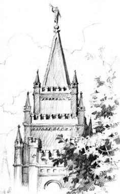 Pencil drawing of Salt Lake Temple
