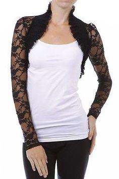 Lace Crochet BOLERO SHRUG Long Sleeve Ruffle Open Front Cardigan Jacket Top