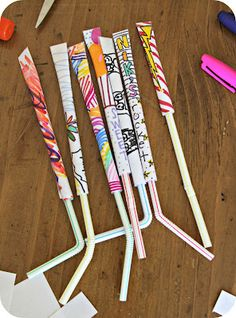 Paper Rockets:  To make them you will need paper, glue, scotch tape and a plastic straw. 1. Decorate the paper. 2. Put glue on one of the longer edges. Then role the paper around a pencil starting from the opposite side. 3. Close the top of the rocket with scotch tape. 4. Insert a plastic straw and you are ready to go.  Blow and watch them fly around the room.  Kids will love this.