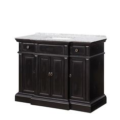 This transitional Asheville vanity is a stately piece that is a handsome addition to any bathroom. The base is framed in fir with a distressed finish with brown undertones and a black antiqued crackle. Bathroom Vanity, Contemporary Bathroom Vanity, Custom Bathroom, Master Bathroom Design, Vanity, Contemporary Bathroom Faucets, Elegant Bath, Black Vanity Bathroom, Single Handle Bathroom Faucet