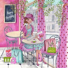 © Cartita Design #birthday #pink #illustration #girl #tea time #cupcake #presents #shopping