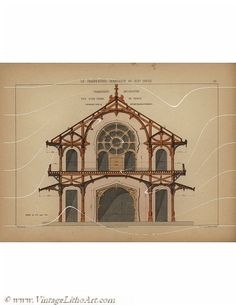 Rare Original Antique Architectural Print – Le Charpenter-Serrurier Au XIX Siecle