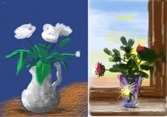 Aos 73 anos, o artista plástico britânico David Hockney está expondo 300 dessas suas novíssimas peças em Paris. A exposição se chama Fleurs Fraîches