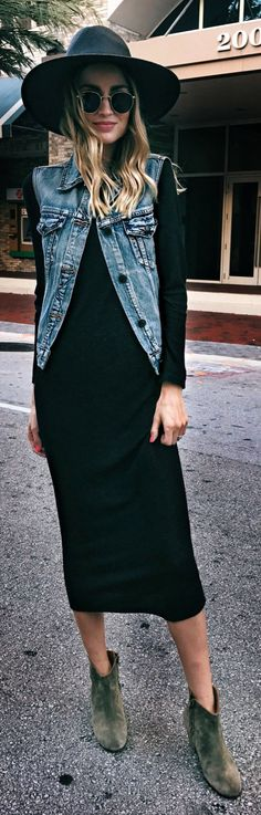 Cute spring outfits /  Black Hat / Denim Vest / Black Maxi Dress / Green Suede Booties