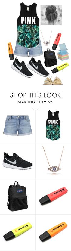 """""""Get Studying"""" by jazpreet on Polyvore featuring Paige Denim, Victoria's Secret, NIKE, Bling Jewelry, JanSport, women's clothing, women, female, woman and misses"""