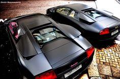 Two Matte Black Lamborghini Murcielago LPs