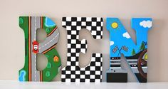 Racecar Theme, Hand Painted Wooden Letters: Price is Per Letter- Read all info Before Ordering on Etsy, $14.00
