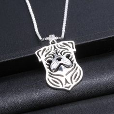Cute Pug Hollow Out Pendant Necklace For Women #shoes, #jewelry, #women, #men, #hats, #watches