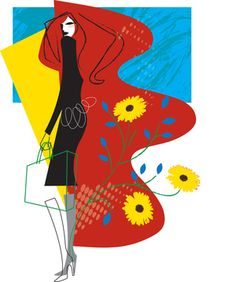 Spring Shopping Fashion illustration