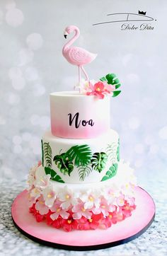 Flamingo Cake, Flamingo Birthday, Luau Birthday, Flamingo Party, Birthday Cake Girls, Birthday Ideas, Luau Cakes, Beautiful Birthday Cakes, Birthday Cake Decorating