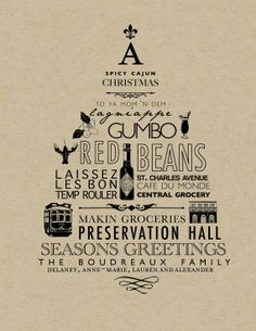 New Orleans Holiday Cards or Poster by seahorsebendpress on Etsy, $10.00