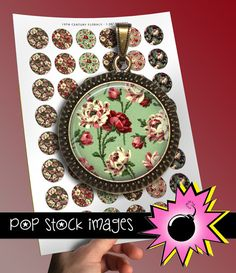 1-Inch Circle Rounds Collage Sheet - 19th Century Roses - For Pendants, Magnets & Wine Charms - Inchies Rose Circles PDF - 1-Inch