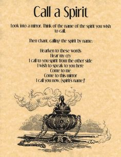 Call-a-Spirit-Spell-Book-of-Shadows-Page-BOS-Pages-Summoning-Spells-Wicca Prudent en parlent des esprits. Careful when talking with spirits. Witch Spell Book, Witchcraft Spell Books, Wicca Witchcraft, Magick Spells, Voodoo Spells, Healing Spells, Wiccan Spells Money, Demon Spells, Wiccan Books
