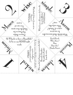 My version of the Pesach Cootie Catcher