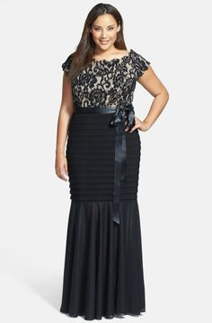 Betsy & adam Lace Overlay Matte Jersey Gown in Beige (Black Nude)